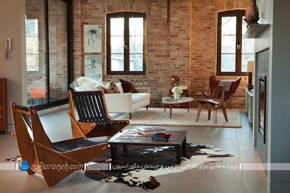 طراحی دکوراسیون روستیک در خانه با دیوارپوش آجری