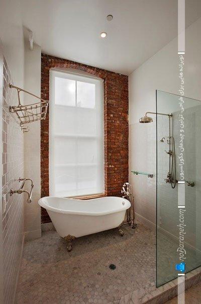 استفاده از سنگ آنتیک به جای کاشی در حمام و سرویس بهداشتی / عکس