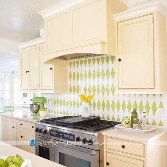 کاشی دیواری آشپزخانه با طرح لوزی