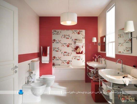 تزیین روشویی و توالت با کاشی و سرامیک رنگی
