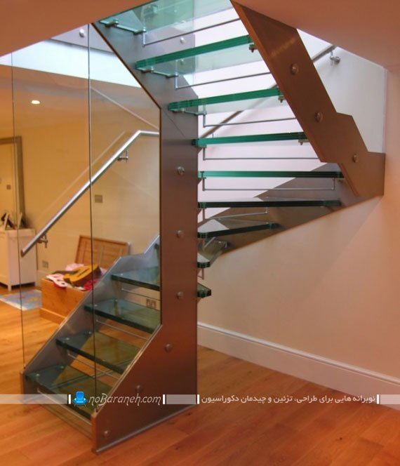 مدل های جدید راه پله دوبلکس شیشه ای و چوبی مدرن