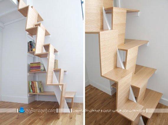 راه پله فانتزی و مدرن خانه دوبلکس با جنس چوبی