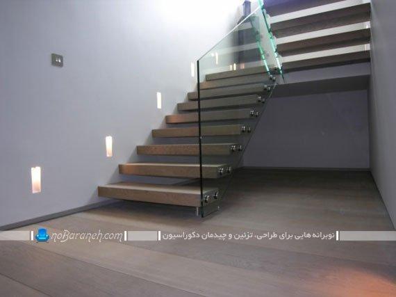 راه پله خانه و منزل دوبلکس شیشه ای و چوبی