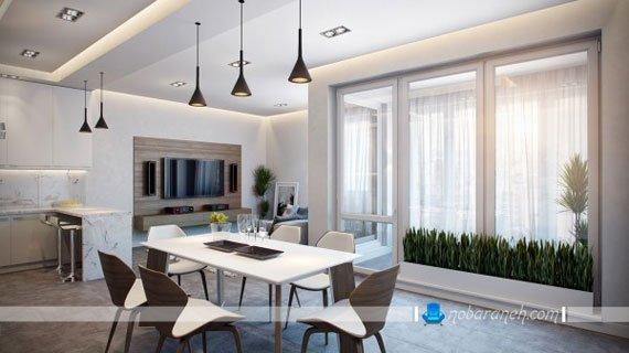 مدل میز ناهارخوری شش نفره چوبی، جیدمان میز ناهارخوری در وسط سالن خانه، نورپردازی میز ناهارخوری