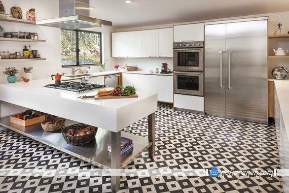 مدل کفپوش سرامیک آشپزخانه با طرح لوزی