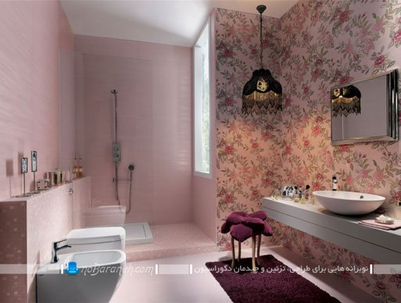 کاغذ دیواری ضد آب برای دکوراسیون داخلی حمام و دستشویی / عکس