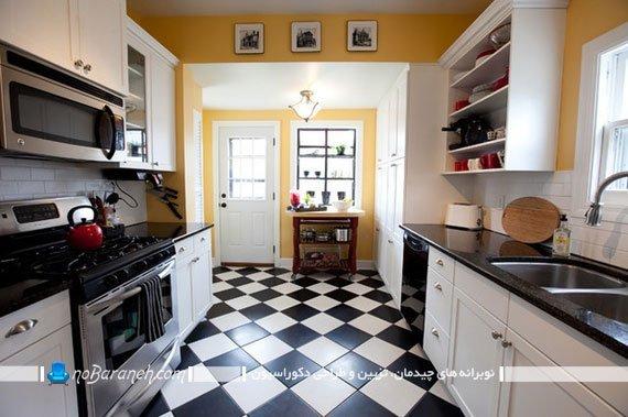 کفپوش سرامیک آشپزخانه شطرنجی سیاه و سفید
