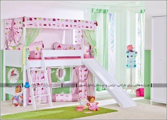 تخت خواب و سرویس خواب دخترانه کودک با سرسره و نردبان