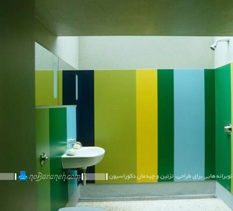تزیین دیوار حمام و سرویس بهداشتی با راه راه های رنگی / عکس