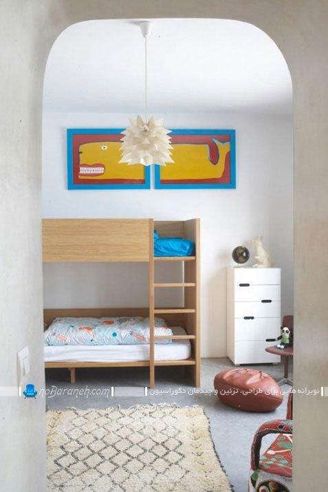 تخت خواب دو طبقه برای اتاق خواب بچه های دو قلو / عکس