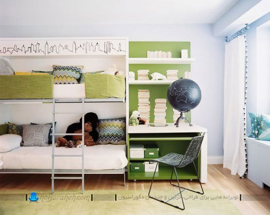 تزیین اتاق مشترک بچه های دو قلو با رنگ سبز / عکس