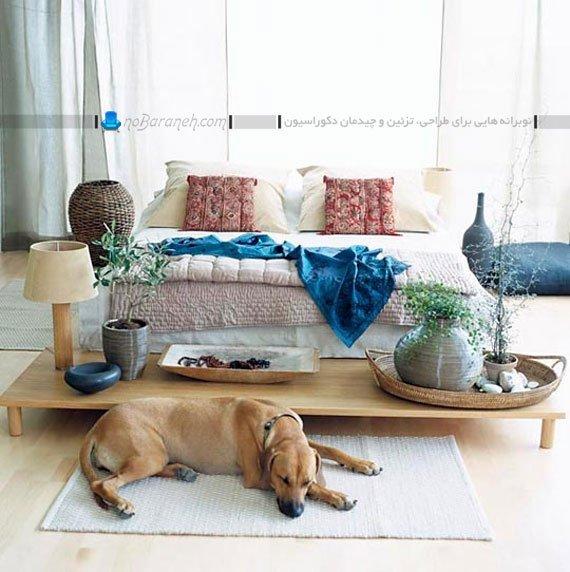 چیدمان میز پایه کوتاه در کنار سرویس خواب