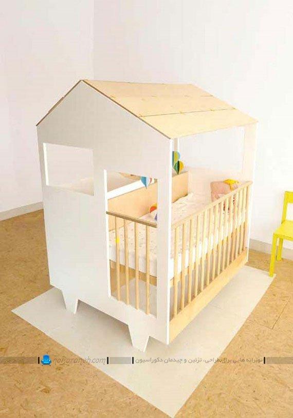 تخت نوزاد چوبی طرح کلبه