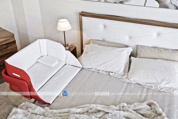 تخت نوزاد نصب شده به سرویس خواب پدر و مادر + عکس