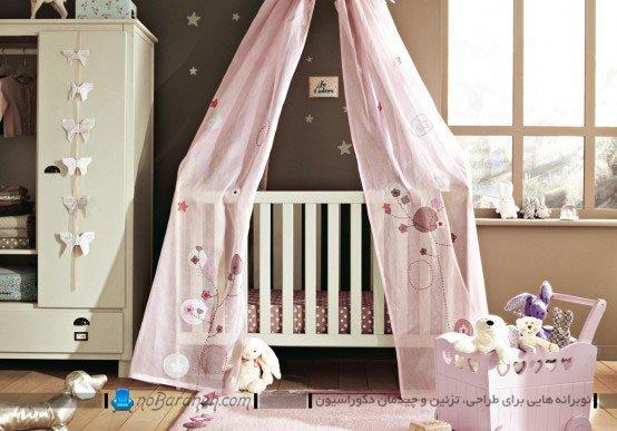 دیزاین شیک و مدرن اتاق نوزاد دختر با صورتی و قهوه ای