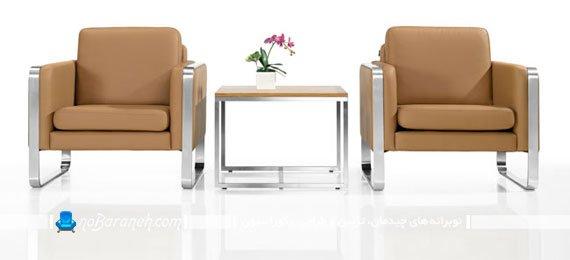 مبل تک نفره و صندلی راحتی با دسته فلزی