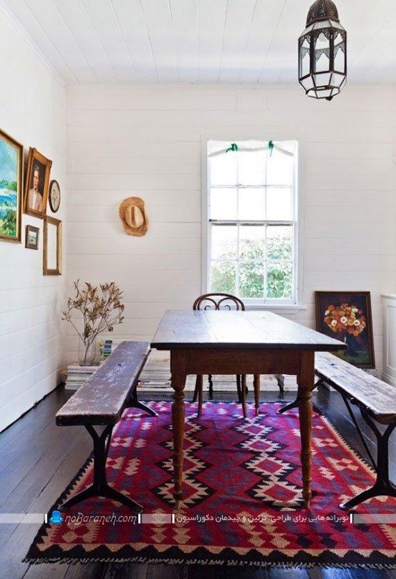 میز ناهارخوری ارزان چوبی و نیمکتی کلاسیک
