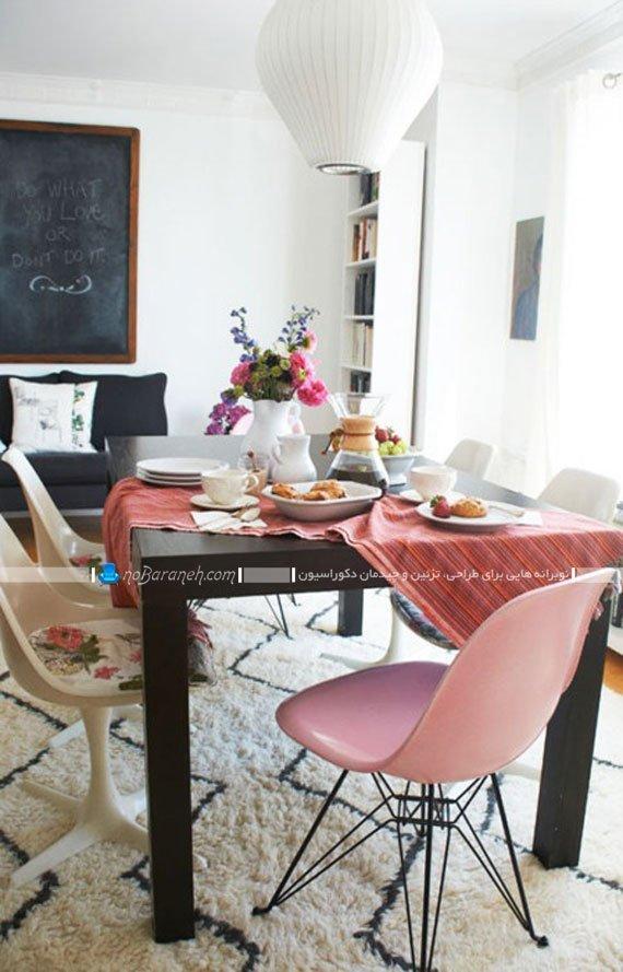 میز غذاخوری ساده چوبی با صندلی پلاستیکی / عکس