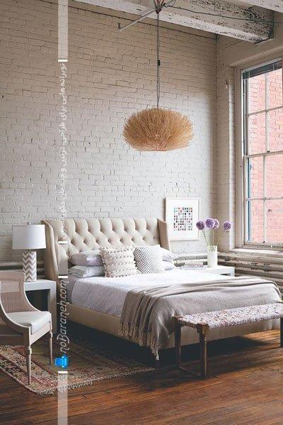 دیوار آجری سفید برای اتاق خواب