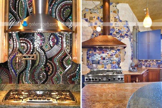 هنرنمایی روی دیوارهای آشپزخانه با سنگ ریزه های رنگی، مدل های جدید دیوارپوش آشپزخانه