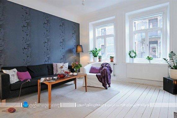 طراحی دکوراسیون اتاق نشیمن و پذیرایی با رنگ های سرد / عکس