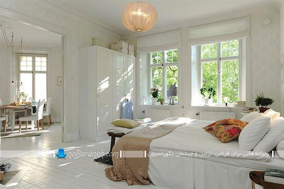 کفپوش و مبلمان سفید رنگ اتاق خواب / عکس