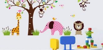 مدل استیکر اتاق کودک با طرح جنگلی و یچگانه