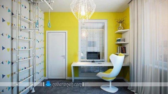 طراحی دکوراسیون شیک و مدرن اتاق کودک نوجوان با رنگ زرد