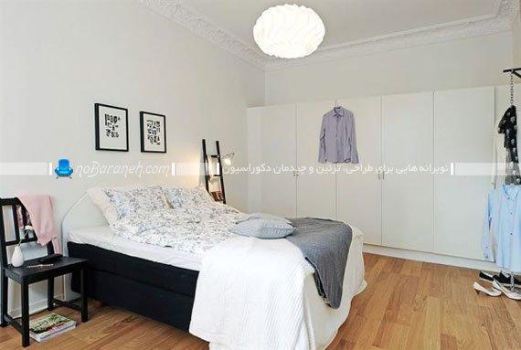 طراحی دکوراسیون سیاه و سفید در اتاق خواب / عکس