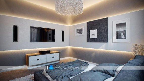 دیزاین شیک و مدرن اتاق خواب عروس و نحوه نورپردازی اتاق خواب