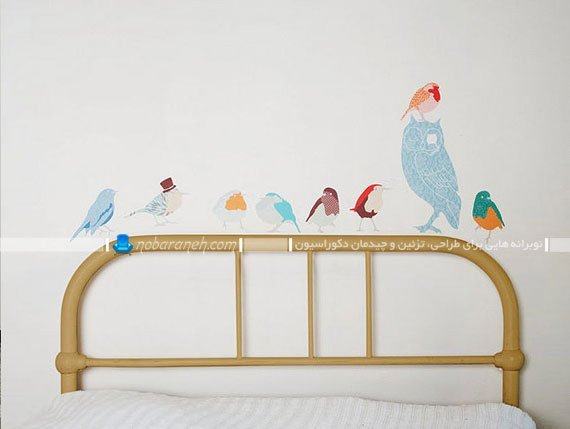تزیین اتاق کودک و تخت خواب کودک با استیکر و برچسب دیواری / عکس
