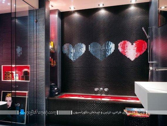 تزیین دیوارهای حمام و سرویس بهداشتی با کاشی های طرح رمانتیک / عکس