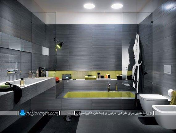 کاشی حمام با رنگ بندی تیره