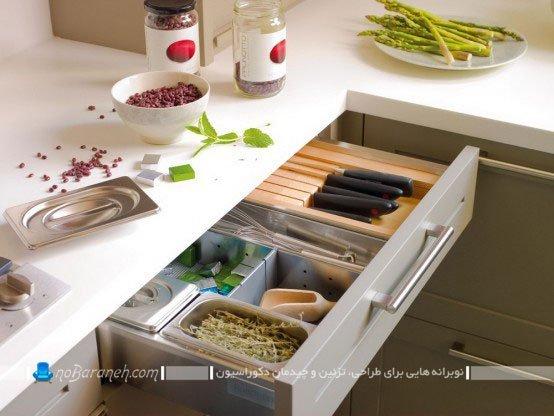مدل کشو کابینت آشپزخانه با دستگیره ساده