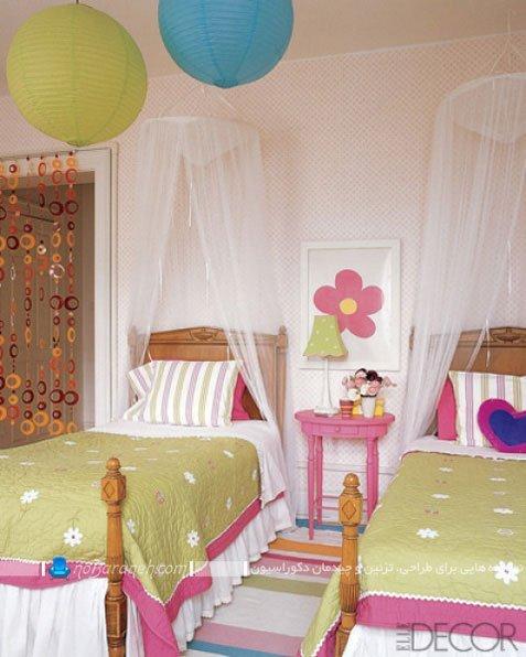 دکوراسیون اتاق کودکان دوقلو دختر