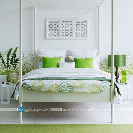 طراحی دکوراسیون شیک اتاق عروس با سبز و سفید / عکس