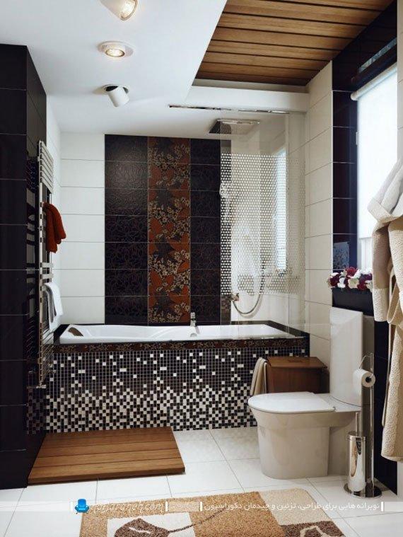 تزیین دیوار کنار حمام با کاشی های طرح دار / عکس