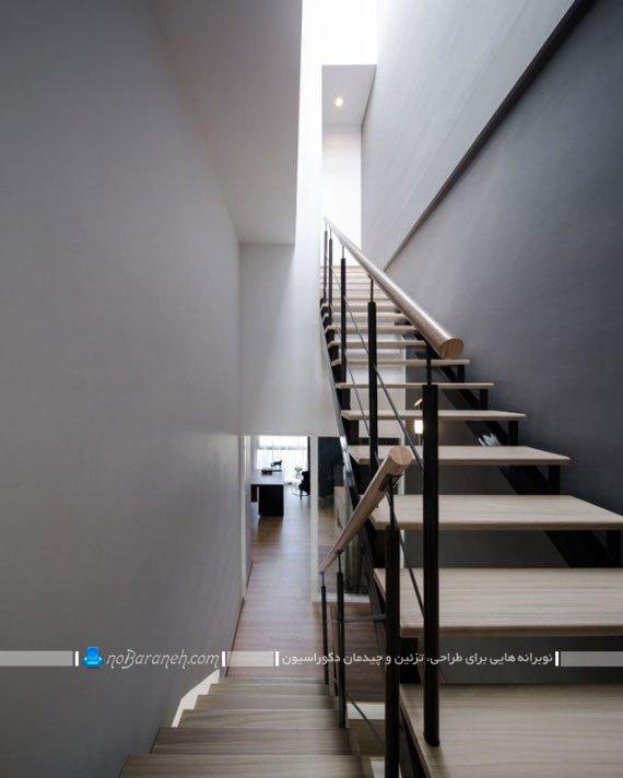 راه پله دوبلکس چوبی ساده شیک مدرن برای دکوراسیون منزل دوبلکس با طراحی جدید و شیک. مدل های جدید و متنوع راه پله داخلی ساختمان و آپارتمان.