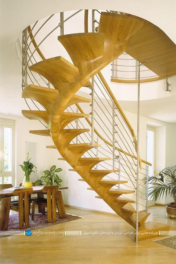 مدل راه پله دوبلکس شیک و چوبی گرد با طرح فانتزی و مدرن. طرح جدید پله دوبلکس و پله های داخلی مدرن چوبی با حفاظ فلزی و چوبی. پله دوبلکس چوبی با نرده آهنی و چوبی.