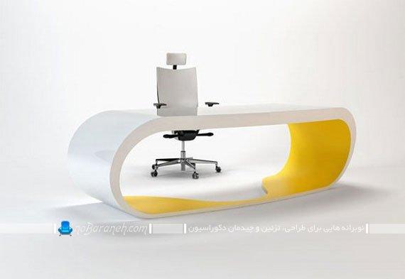 میز مدیریت اداری با رنگ سفید و زرد