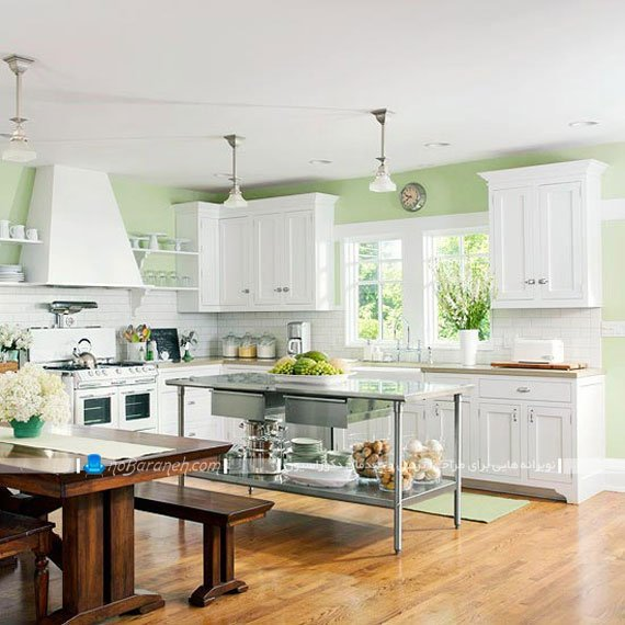 Green Kitchen Wall With White Cabinets photo - 5