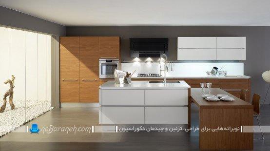 کابینت طرح چوب و سفید رنگ شیک و مدرن