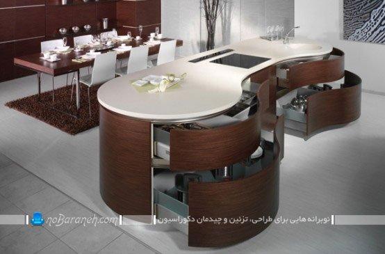 کابینت چوبی مدرن آشپزخانه با اپن منحنی