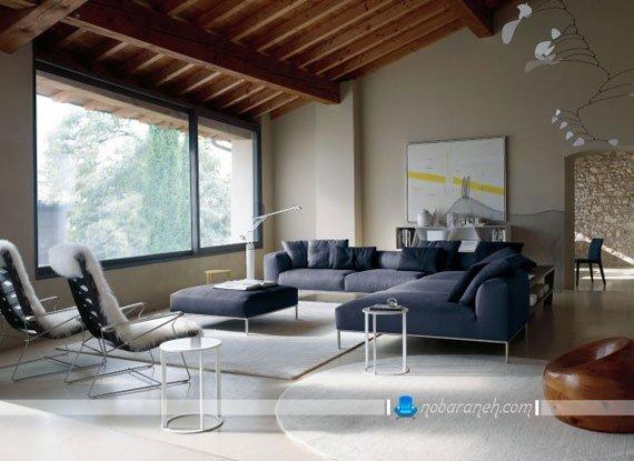 مبل راحتی ایتالیایی مدرن و شیک طرح جدید ال با رنگ آبی نفتی. طرح های فانتزی مبل راحتی ایتالیایی مدرن و زیبا.
