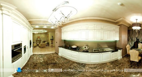 نمایی زیبا از طراحی دکوراسیون آشپزخانه در واحدهای مسکونی برج روما، مدل کابینت آشپزخانه ساده و کلاسیک با رنگ سفید و کرم