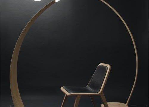 مدل آباژور چوبی دو قلو و هلالی با لامپ فلت و حبابی