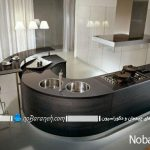 مدل های اپن آشپزخانه با طراحی جدید و مدرن نیم دایره