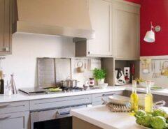 طراحی دکوراسیون شیک و ساده در آشپزخانه با قرمز و بژ