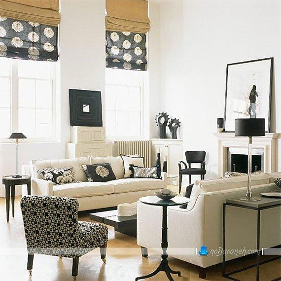 دکوراسیون اتاق پذیرایی با سیاه و سفید