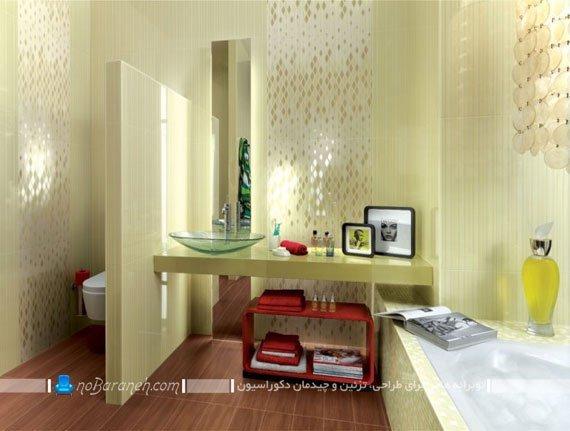 دیزاین سرویس بهداشتی با کاشی های مدرن